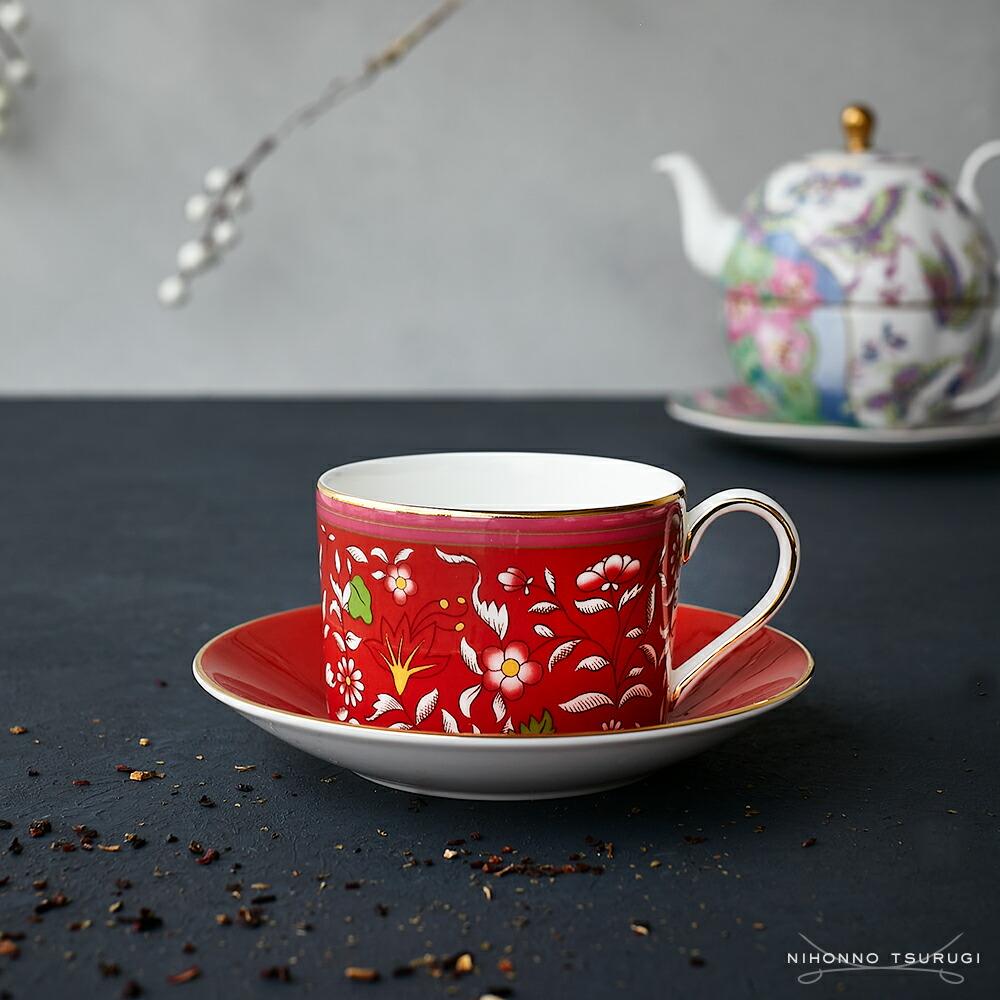 ウェッジウッド (WEDGWOOD) ワンダーラスト クリムゾンジュエル ティーカップ&ソーサー