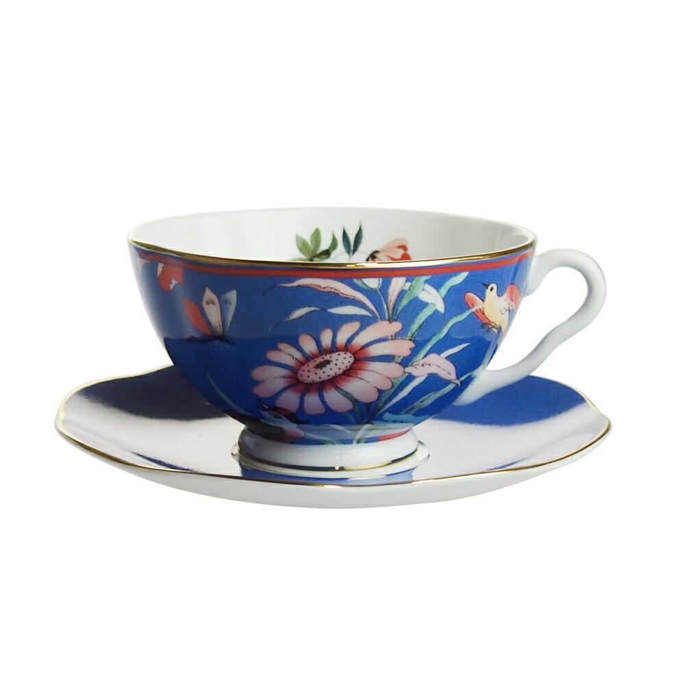 ウェッジウッド ペオニア ブラッシュ ティーカップ&ソーサー ブルー