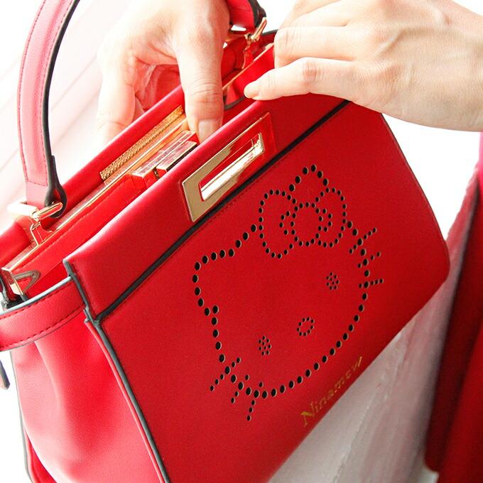 Ninamew  Hello Kitty punching leather mini-bag ninamew ニーナミュウ ... c8839e5831740