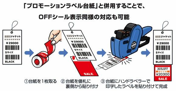 プロモーションラベル台紙と併用することでOFFシール表示同様の対応も可能!