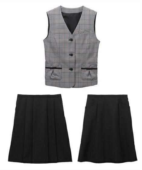 レディーススーツ|欲しいの声から生まれた!2スカートベストスーツ(丈56cm) ニッセン nissen(A・グレンチェック+黒)