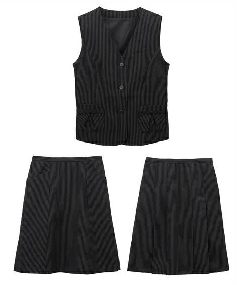 レディーススーツ|欲しいの声から生まれた!2スカートベストスーツ(丈56cm) ニッセン nissen(B・黒×オフホワイトストライプ)