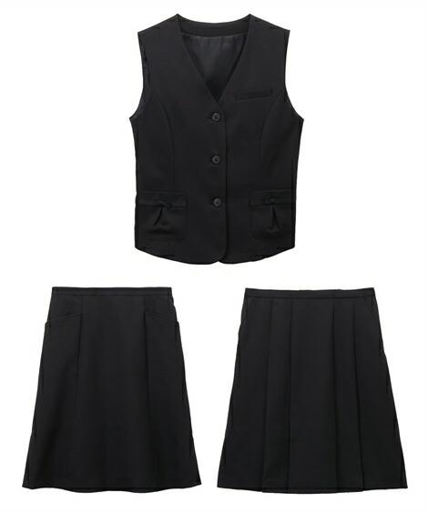 レディーススーツ|欲しいの声から生まれた!2スカートベストスーツ(丈56cm) ニッセン nissen(C・黒無地)