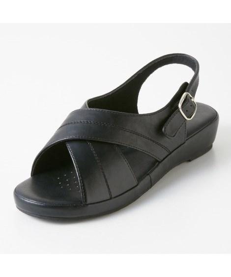 靴(シューズ) 超軽量オフィスサンダル(低反発中敷)(ワイズ4E) 23.0~24.5cm ニッセン nissen(W・黒)