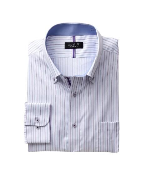 トップス・ワイシャツ|a.V.V形態安定長袖デザインワイシャツ(ボタンダウン) 大きいサイズメンズ 5L  ニッセン nissen(W・ブルー×パープルストライプ)