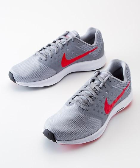 靴(シューズ)|ナイキ ダウンシフター7(メンズ) ニッセン nissen(グレー×レッド)