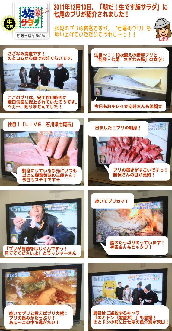 2011年12月10日「朝だ!生です旅サラダ」で七尾ブリ(七尾鰤・七尾ぶり)が紹介されました。