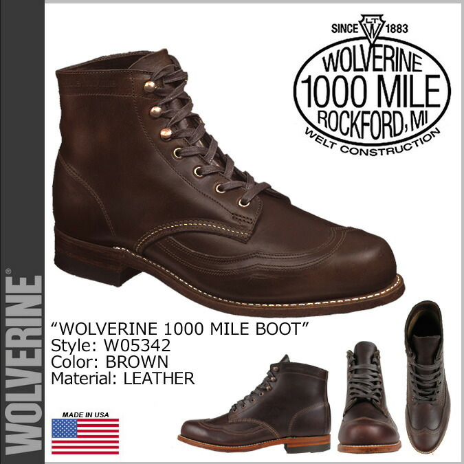 a1a0e093c47 WOLVERINE Wolverene 1,000 miles boots ADDISON 1000MILE WINGTIP BOOT D Wise  W05342 brown wing tip work boots men [179]