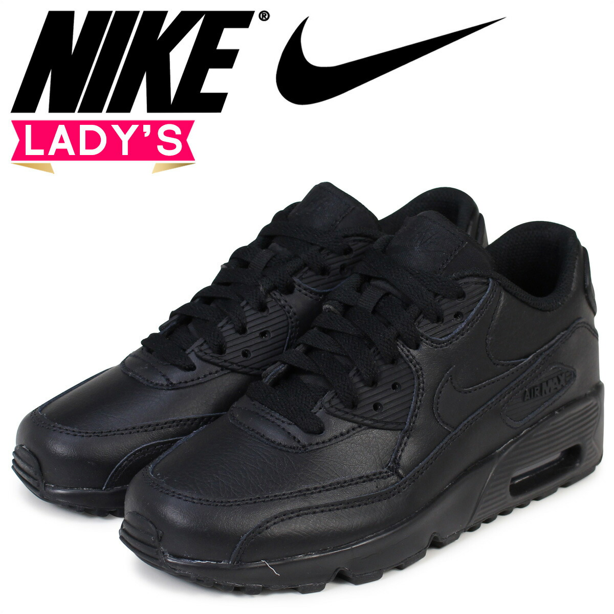 best sneakers 80db2 fa11e Nike NIKE Air Max 90 Lady's sneakers AIR MAX 90 LEATHER GS 833,412-001  black black [197]