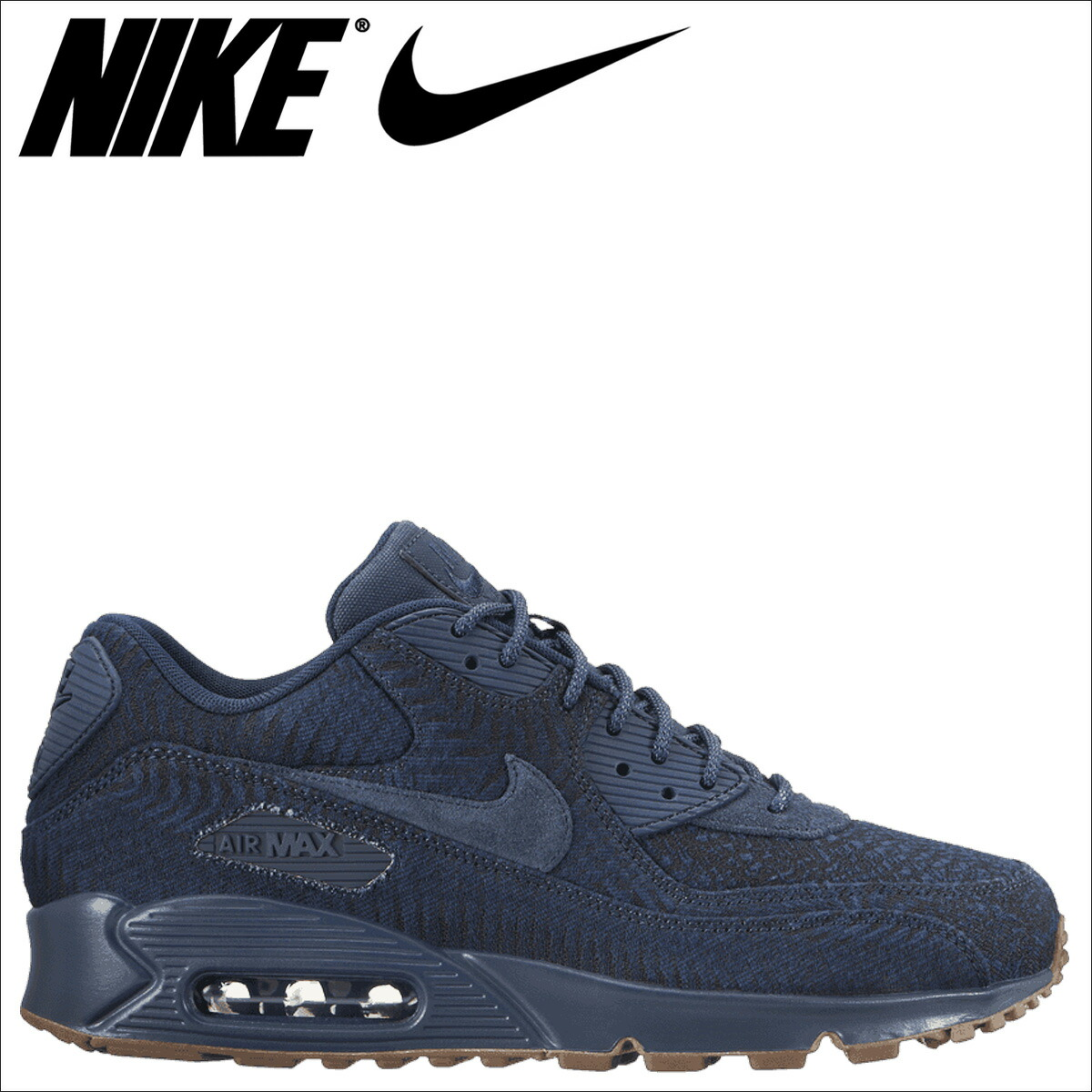 Nike Air Max 90 Premium Jacquard Shoes Indigo Navy 918358