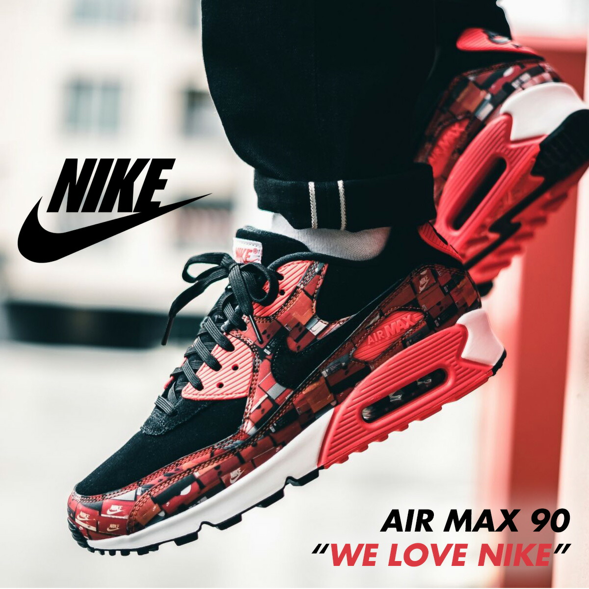 new product 71b6b bc62d Nike NIKE Air Max 90 sneakers men AIR MAX 90 PRNT WE LOVE NIKE red  AQ0926-001 [the 8/29 additional arrival]