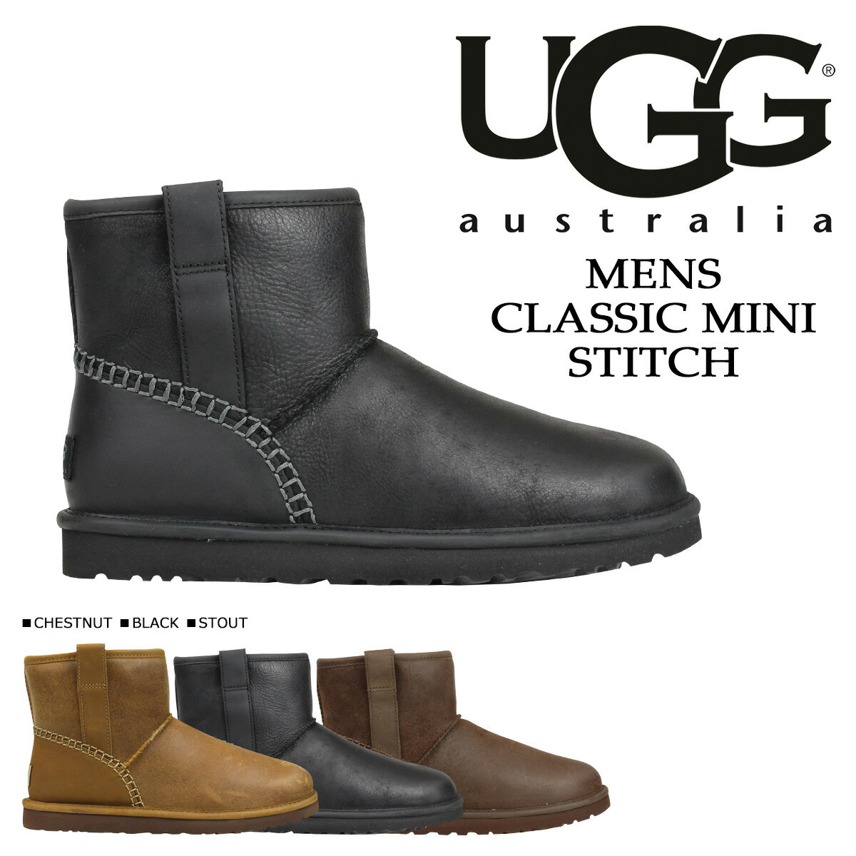 4e890f66d25 アグ UGG men classical music mini-mouton boots MENS CLASSIC MINI STITCH  1008621 leather