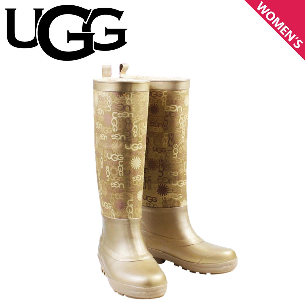 New Womens UGG Wallingford Gold Rubber Rain Boots *Inside