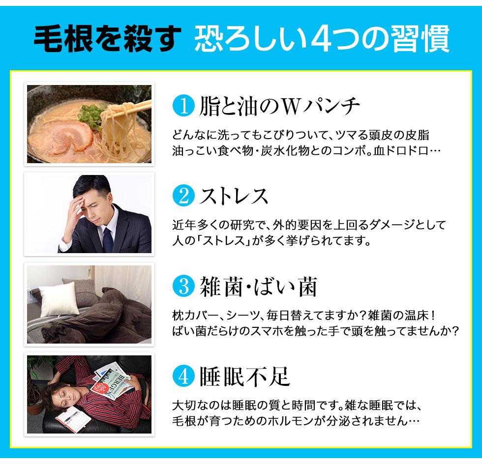 毛根を殺す恐ろしい4つの習慣 脂と油のWパンチ。どんなに洗ってもこびりついて、ツマる頭皮の皮脂。脂っこい食べ物、炭水化物とのコンボ。血どろどろ… ストレス。外的要因。雑菌・ばい菌。睡眠不足。毛根が育つためのホルモンが分泌されません