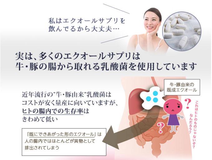 私はエクオールサプリを飲んでるから大丈夫 実は、多くのエクオールサプリは牛・豚の腸から取れる乳酸菌を使用しています。