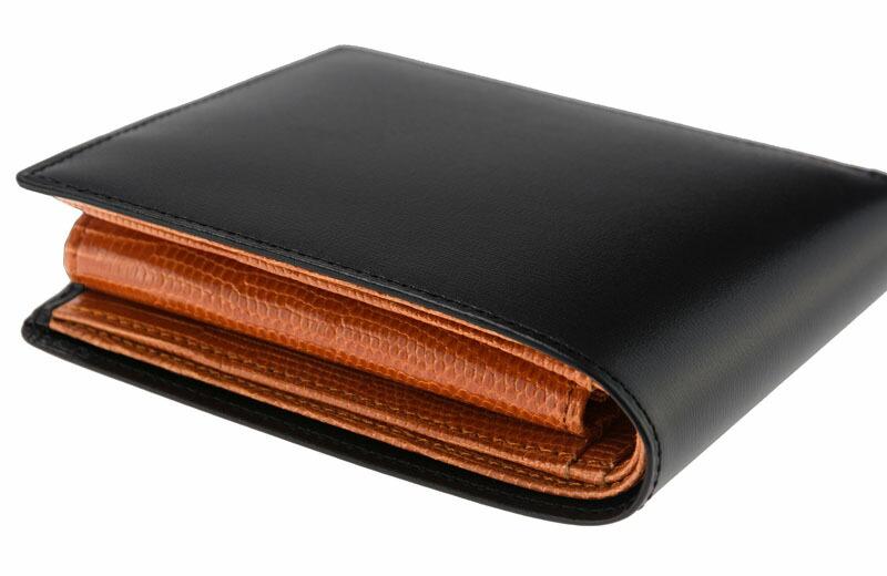 e68bfe00fd75 【CYPRIS COLLECTION】二つ折り財布(小銭入れ付き札入)□ボックスカーフ&リザード