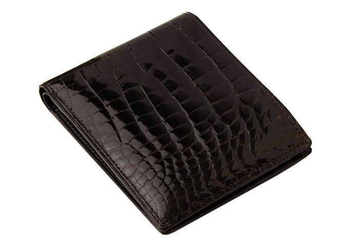e922d2c62fe5 【CYPRIS COLLECTION】二つ折り財布(カード札入)□艶クロコダイル&シラサギレザー