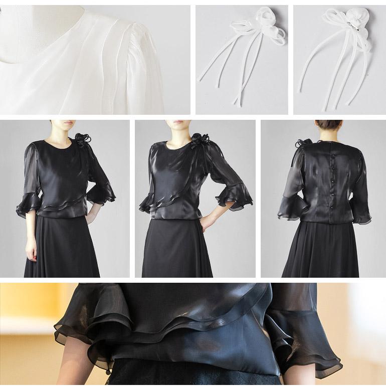 演奏会 白 黒 コーラス 衣装 フォーマル サテン オーガンジー の5分袖 ブラウス 合唱 発表会 ピアノ 大人 ステージ衣装 大きいサイズ ミセス