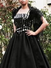 身頃に大胆なストライプのスパンコール地を使ったロングドレスです