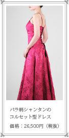 煌めくシャンタンの ロング ドレス