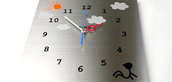 ステンレス掛け時計「のんびり屋」