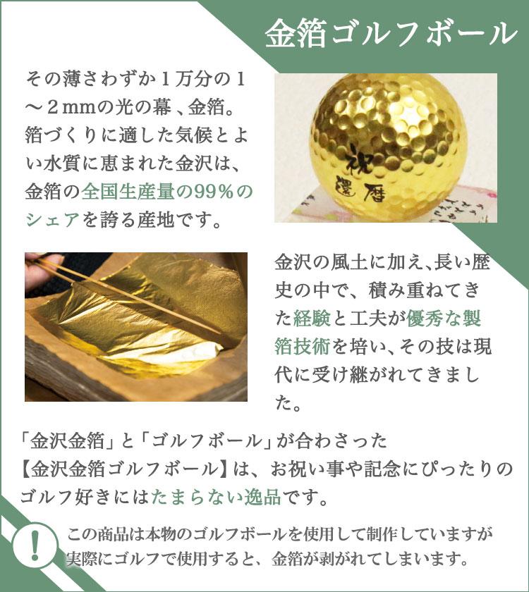 金箔ゴルフボール説明
