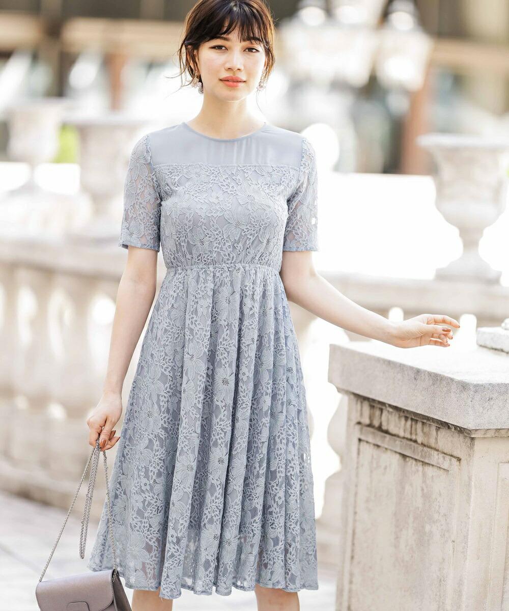 20ff9918d4383 ハーフスリーブレースワンピースドレス