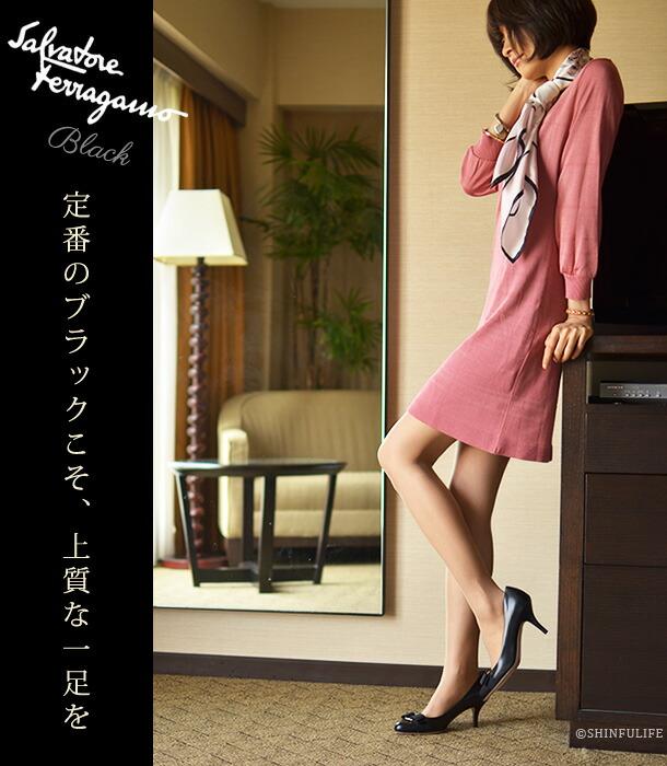 靴の女王の定番パンプス。サルヴァトーレ フェラガモ/Salvatore Ferragamo/CARLA70/ヒールパンプス/快適な履き心地を得られるリボンパンプス/リボン/ヴァラ/ヒール/ハイヒール/痛くない/疲れない/ブラック/黒/グレー/靴/新作/正規品 モデル写真 : ブラック