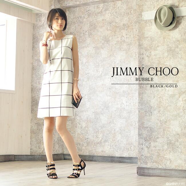【JIMMY CHOO】ジミーチュウ 133 BUBBLE(バブル) ハイヒールサンダル/ヒール/ハイヒール/ヒールパンプス/オープントゥ/8cm/9cm/ブラック/黒/ゴールド/レザー/フォーマル/エナメル/ブランド/レディース/靴/新作/正規品/ モデル写真
