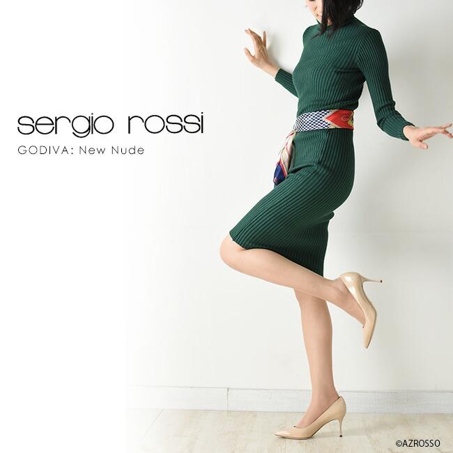 セルジオロッシ【Sergio rossi】ゴディバ(GODIVA) エナメル ハイヒール パンプス モデル画像 ブラック