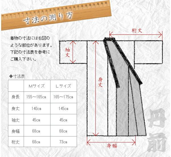 「寸法の測り方」 着物の寸法には右図のような部位があります。下記の寸法表を参考にご購入下さい。