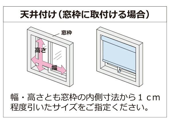 ロールスクリーン天井付けの採寸方法