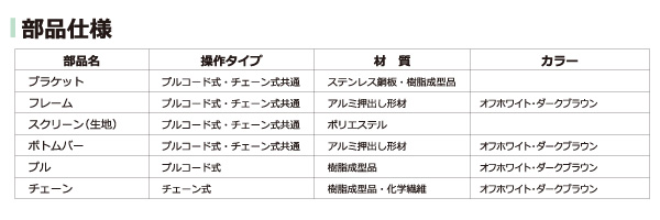 ロールスクリーンの商品詳細