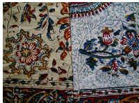 イランの手染めコットン、ペルシャ更紗(ガラムカール)の洗濯前と後
