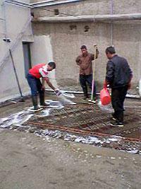キリムに洗剤をかける キリム&ペルシャ絨毯専門店オリエンタルムーン