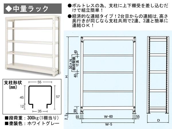 SRC ボルトレス中量ラック S3-659-5T D868xH1800xW1500mm 5段(300kg/段)