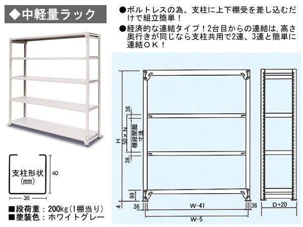 SRC ボルトレス中軽量ラック S2-756-5T D600xH2100xW1500mm 5段(200kg/段)