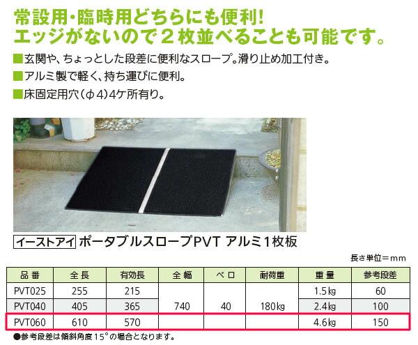イーストアイ 常設・臨時両用 ポータブルスロープ アルミ1枚板 PVT060