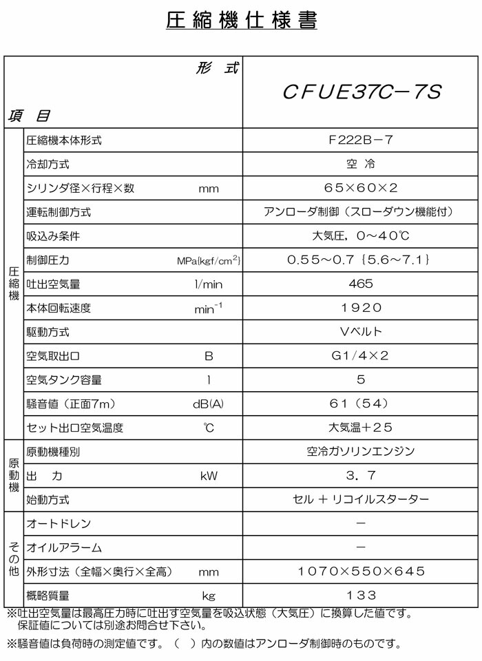 アネスト岩田 オイルレス ガソリンエンジン式コンプレッサー(セル式) CFUE37C-7S