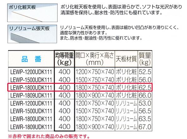 TRUSCO LEW型 軽量作業台(間口1800mm) 3段キャビネット付 ポリ化粧天板 LEWP-1800UDK111