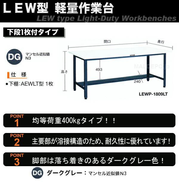 TRUSCO LEW型 軽量作業台(間口1800mm) 下棚1枚付 リノリューム張天板 LEWR-1800LT