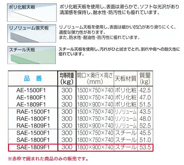 TRUSCO AE型 軽量作業台(間口1800mm) 1段引き出し付 スチール天板 SAE-1809F1