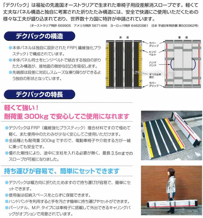 ケアメディックス FRP4つ折りエッジ付スロープ デクパック EBL 300cm