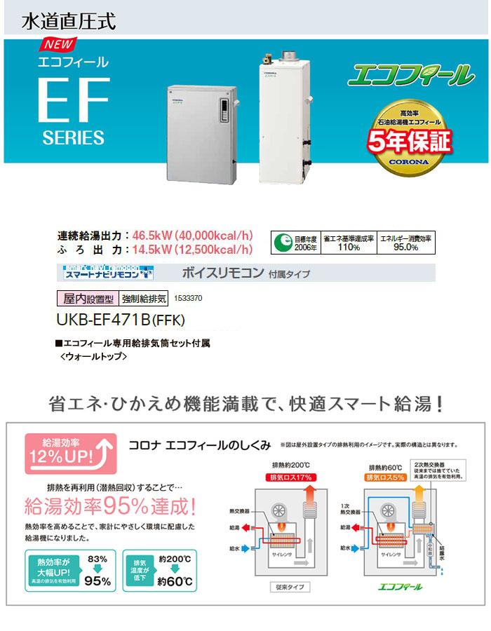 CORONA(コロナ) 46.5kW直圧式 高効率石油給湯器エコフィール UKB-EF470XP/FFK 給湯+追いだき 屋内 強制給排気 ボイスリモコン
