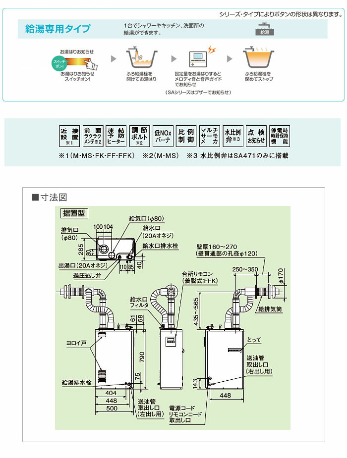 CORONA(コロナ) 38.4kW直圧式 石油給湯器SAシリーズ UIB-SA38MX/FF 給湯専用 屋内 強制給排気