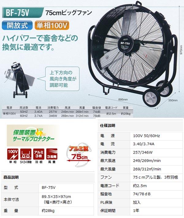 ナカトミ 工場扇(大型扇風機) ビックファン 75cm BF-75V 【個人宅配送不可】