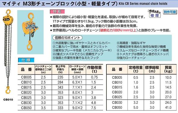 (株)キトー マイティ M3形チェーンブロック(小型・軽量タイプ) CB020