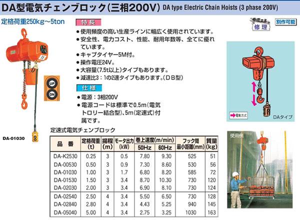象印 DA式電気チェンブロック(三相200V)定速式 DA-00530