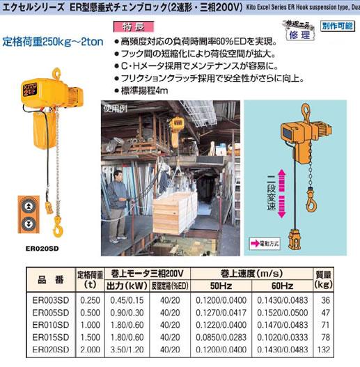 (株)キトー ER型懸垂式チェンブロック(2速形・三相200V) ER005SD