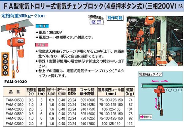 象印 FA型電気トロリー電気チェンブロック(4点押ボタン式)(三相200V) FAM-02060